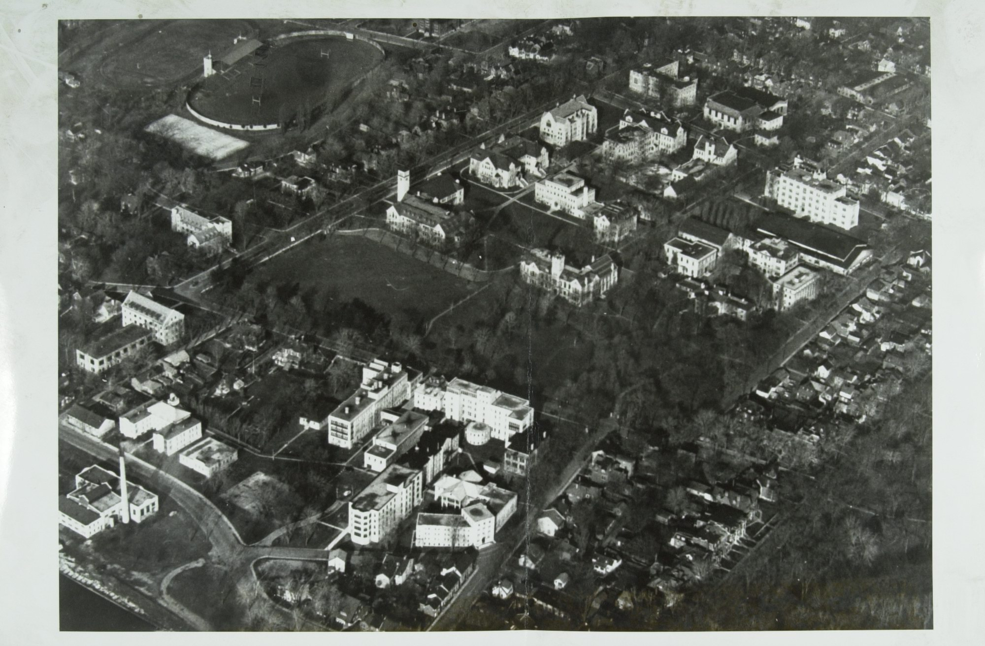 Aerial Queen's University and KGH Post 1924 showing Richardson Lab and Douglas Wing
