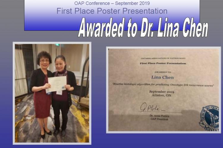 Dr. Lina Chen was awarded with First Place Poster Presentation at Ontario Association of Pathologists